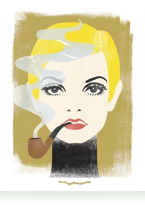 Twiggy smokes a pipe artprint Ingrid Bockting